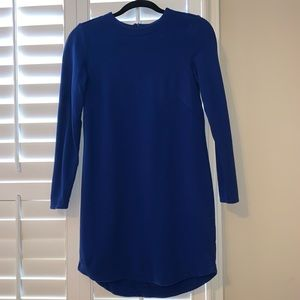 Long sleeve solid blue dress